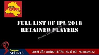 IPL 2018 Final List of All the players retained by teams | IPL Auction