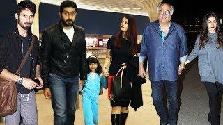 Bollywood Celebs Spotted At Mumbai Airport - Aishwarya Rai, Abhishek Bachchan, Shahid Kapoor