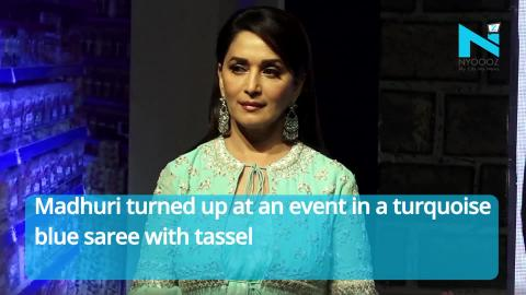Trendsetter Madhuri Dixit's Blue Saree With Koti Is Setting New Fashion Goals | NYOOOZ TV