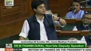 Jyotiraditya Scindia delivers Motion of Thanks to President's address to the Parliament