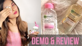 GARNIER MICELLAR CLEANSING  WATER+ OIL INFUSED- DEMO+ REVIEW