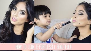 EASY EFFORTLESSLY BEAUTIFUL MAKEUP & HAIR! Valentine's Special My 2 YEAR OLD helping me with MAKEUP!