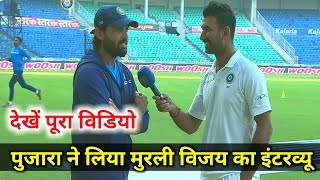 IND v SL: 2nd Test Pujara(143)  takes interview of Murli Vijay(128), both are centurion of 2nd day