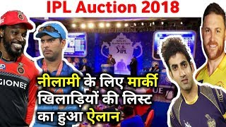 IPL 2018 Auction: BCCI announced full list of IPL marquee players and other players name list