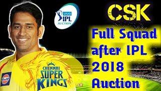 IPL 2018: Chennai Super Kings CSK 25 men full Squad after IPL Auction, MS Dhoni Faf Du Plessis bravo