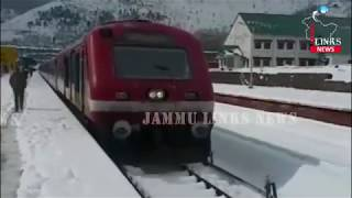 Banihal railway station during heavy snowfall