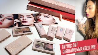 GIGI HADID X MAYBELLINE COLLECTION + FULL FACE MAYBELLINE MAKEUP.