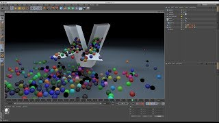 Falling Shaded Balls while Unfolding Text using Bend with Dynamics in Cinema 4D Tutorial