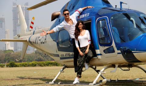 Tiger Shroff & Disha Patani Arrive In CHOPPER For Baaghi 2 Trailer Launch