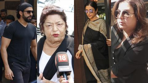 Farhan Akhtar, Saroj Khan, Tabu, Farah Khan Pay Visit To Anil Kapoor's House For Condolence