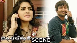 Gentleman Movie Scenes - Nani Sends Courier To Niveda Office - Nani Flirting Niveda From Terrace