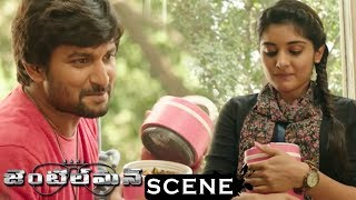 Gentleman Movie Scene - Nani Brings Lunch For Niveda - Nani Fight With Niveda Uncle At Niveda Office