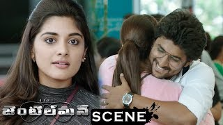Gentleman Movie Scenes - Niveda Stunned At Airport - Niveda Comes To Nani House And Know About Nani