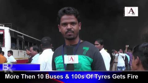 Fire At NEKRTC Gulbarga Bus Depot No 3 For More Details Watch Video