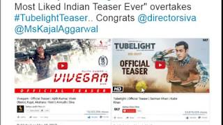 Vivegam Teaser Beats Tubelight Teaser Becomes Most Liked India Teaser