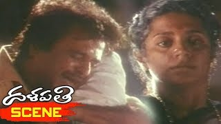 Mammootty and Aravind Swamy Emotional Scene with Rajinikanth and Sri Vidya - Dalapathi Movie Scenes