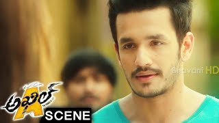 Akhil Meets Sayesha Saigal - Love At First Sight - Madhunandan Comedy - Akhil Movie Scenes