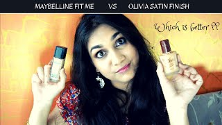 Maybelline Fit Me Vs Olivia Satin Finish Foundation | Which one is Better ?? | Nidhi Katiyar