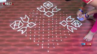 muggulu designs with 18x1 dots | easy rangoli designs with dots | muggulu designs | rectv india