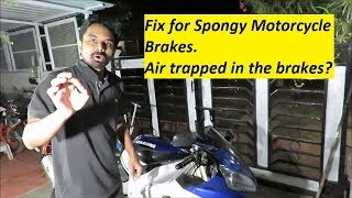 EASY FIX for Spongy Motorcycle Brakes. Air trapped in the brakes?