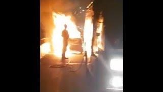 चलती कैब में अचानक लगी आग, बाल-बाल बचे ड्राइवर सहित 5 लोग