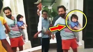 Taimur Ali Khan Playing In Papa Saif Ali Khan's Hands At House In Bandra