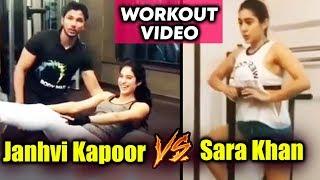 Janhvi Kapoor Vs Sara Ali Khan HOT WORKOUT In Gym   Exercise   Gym Video