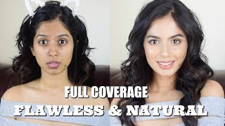 FULL COVERAGE NATURAL MAKEUP LOOK / No Cake Face, Flawless Skin!