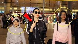 Cool Mom Karisma Kapoor With Kids Returns From Holidays, Spotted At Airport