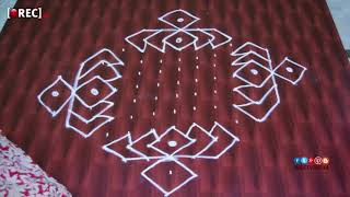 beautiful lotus kolam designs with 15 %2A1 dots %7C easy rangoli designs with dots %7C |rectv india
