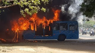 Fire broke out in parked BRTS bus near Karnavati club
