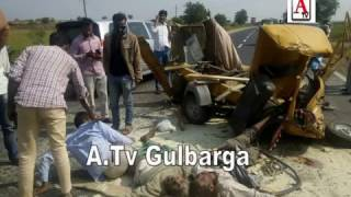 Aland Road Gulbarga Per Dangerous Accident One Death 5 Injuries A.Tv News 17-11-2016