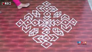 Simple Rangoli Designs With 17x1 Dots  Beginners Kolam Designs muggulu designs | rectv india