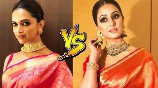 Hina Khan WEARS Saree Like Deepika Padukone   Who Looks BEST?