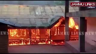 School building damaged in fire in Kashmir
