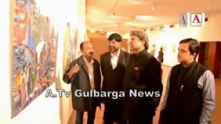 Gulbarga K National Awardee Artist Ayazuddin K Paintings Ki Delhi Me Exhibition A.Tv News