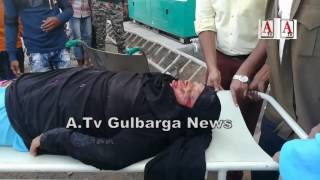 Road Accident at Ring Road Gulbarga 2 Injuries A.Tv News 18-2-2017