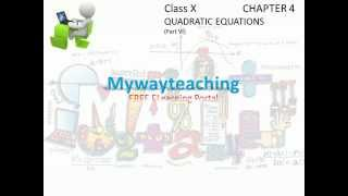 Math Class 10 Chapter 4 Part VI|QUADRATIC EQUATIONS|QUADRATIC EQUATIONS for class 10|