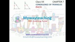 Math Class 7 Chapter 7 Part II Congruence of triangles  Congruence of triangles for class 7 