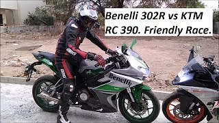 Benelli 302R vs KTM RC 390. Friendly Race. Part 1.