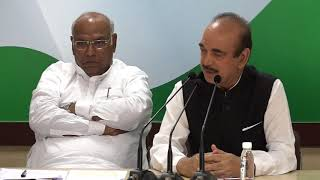 AICC Press Briefing By Ghulam Nabi Azad and Mallikarjun Kharge in Congress HQ on SC/ST Act.