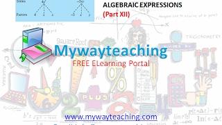 Math Class 7 Chapter 12 Part XII|ALGEBRAIC EXPRESSIONS| ALGEBRAIC EXPRESSIONS for class 7|