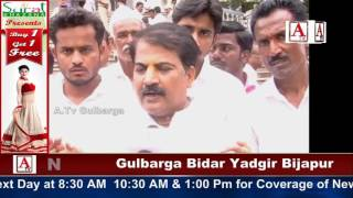Gulbarga Me Daily Wages Employees Ka Protest A.Tv News 17-7-2017