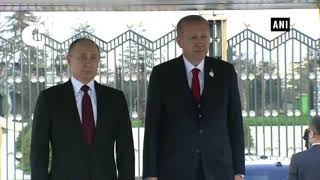 Turkish President Recep Tayyip Erdogan welcomes Russian President Vladimir Putin