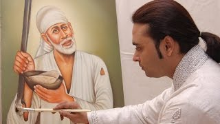 Live Painting of Sai Baba- By Artist Navneet Agnihotri (International Live Painting)
