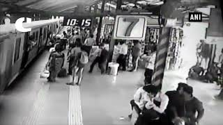 CRPF personal rescues woman from falling in front of moving train