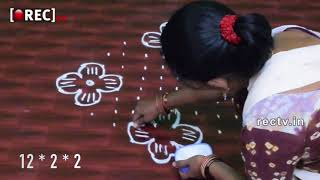 Simple Kolam Designs with Dots Muggulu Designs | Easy Rangoli Designs| Rectv india