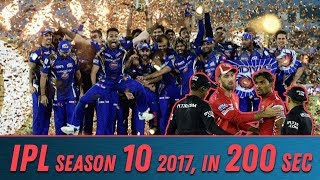 IPL 2017 in 200 seconds | IPL 10 | Mumbai first team to win IPL thrice