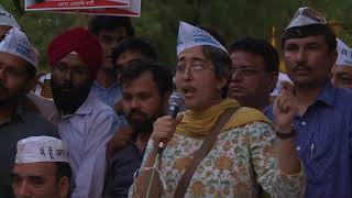 AAP Leaders Addressed at the protest on the issue of Women security outside PM Residence