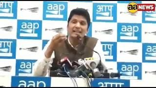 AAP Party Saurabh Bhardwaj Address and shown Delhi LG Report Card